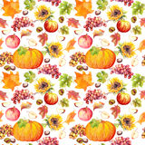Thanksgiving seamless background. Fruits, vegetables - pumpkin, autumn leaves. Watercolor Stock Photo