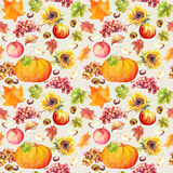 Thanksgiving seamless background. Fruits, vegetables - pumpkin, autumn leaves. Watercolor Stock Photos