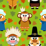 Thanksgiving seamless background with funny animals Royalty Free Stock Photos