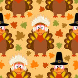 Thanksgiving seamless background with funny turkey Stock Photography