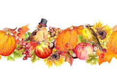 Thanksgiving seamless border frame. Birds, fruits and vegetables - pumpkin, apples, berries, nuts, autumn leaves vector illustration