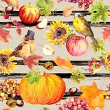 Thanksgiving seamless pattern - birds, fruits and vegetables - pumpkin, apples, chestnuts, autumn leaves. Vintage royalty free illustration