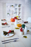 Thanksgiving served table Royalty Free Stock Photography