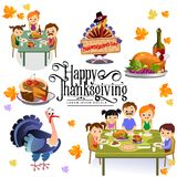 Thanksgiving set,  happy family at the dinner table eat turkey drink wine. Mother father with childrens Royalty Free Stock Images