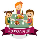 Thanksgiving set, isolated happy family at the dinner table eat turkey drink wine. Mother father with childrens Royalty Free Stock Images