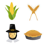 Thanksgiving. A set of thanksgiving related elements on a white background Royalty Free Stock Photos