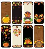 Thanksgiving set of tags i. N brown colors: pumpkin, turkey, leafs,  apple, girl, heart, wood texture Royalty Free Stock Photos