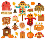 Thanksgiving Set of Turkey Day Objects Royalty Free Stock Images