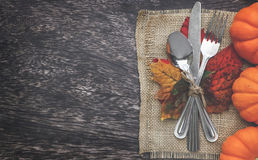 Thanksgiving Setting background. Thanksgiving Table Setting with Leaves Stock Photo