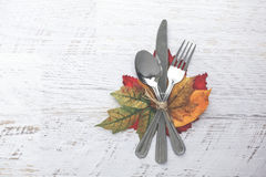Thanksgiving Setting background. Thanksgiving Table Setting with Leaves Stock Photography