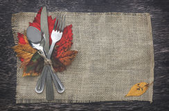 Thanksgiving Setting background. Thanksgiving Table Setting with Leaves Royalty Free Stock Images