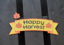 Thanksgiving sign. Thanksgiving happy harvest sign on fence. home decor. outdoors stock photo