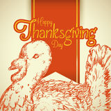 Thanksgiving Sign with Realistic Turkey Hand Drawn stock illustration