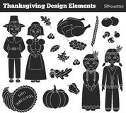 Thanksgiving silhouette elements. Royalty Free Stock Photos