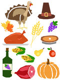 Thanksgiving simple. A set of thanksgiving day symbols drawn in simple manner Royalty Free Stock Images