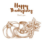 Thanksgiving sketch retro greeting card Stock Photo