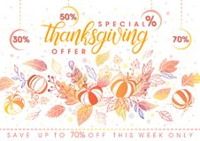 Thanksgiving special offer banner. Hand drawn lettering with leaves in fall colors.Sale season card perfect for prints, flyers,banners, promotion,special offer Royalty Free Stock Images