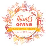 Thanksgiving special offer banner. Hand drawn lettering with leaves in fall colors.Sale season card perfect for prints, flyers,banners, promotion,special offer Stock Photos