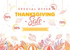 Thanksgiving special offer banner. Hand drawn lettering with leaves in fall colors.Sale season card perfect for prints, flyers,banners, promotion,special offer Royalty Free Stock Photo