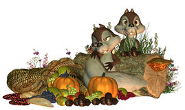 Thanksgiving Squirrels Royalty Free Stock Photos