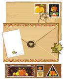 Thanksgiving stamps and envelope Royalty Free Stock Photography