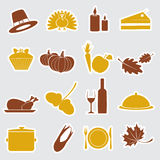 Thanksgiving stickers color set Stock Image