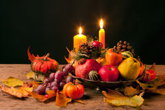 Thanksgiving Still Life. Isolated on black background Royalty Free Stock Photos