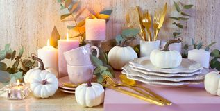 Thanksgiving Stylish Table Setting In New Season Colours, Blush Pink And White. Royalty Free Stock Photo