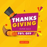 Thanksgiving Super Sale poster or banner design with 70% discoun. T offer royalty free illustration