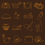 Thanksgiving symbols color outline icons set Stock Photography