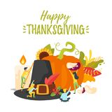 Thanksgiving symbols with people silhouettes Royalty Free Stock Photo