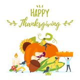 Thanksgiving symbols with people silhouettes Royalty Free Stock Image