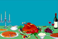 Thanksgiving table. Background with thanksgiving table with place for your text - vector illustration Stock Photo