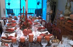 Thanksgiving table. A table beautifully set for thanksgiving Stock Photos