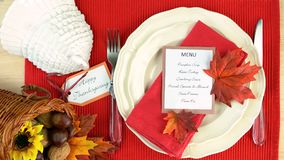 Thanksgiving table close up Royalty Free Stock Images