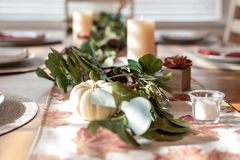 Thanksgiving table decor background stock images