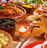 Thanksgiving table decoration Stock Image