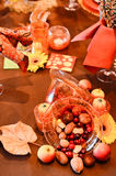 Thanksgiving Table decorations. On a table Stock Photography