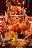 Thanksgiving Table. Thanksgiving harvest table with pumpkins Royalty Free Stock Photos