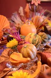 Thanksgiving Table. Thanksgiving harvest table with pumpkins Stock Image