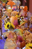 Thanksgiving Table. Thanksgiving harvest table with pumpkins Stock Images