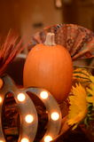Thanksgiving Table. Thanksgiving harvest table with pumpkins Stock Photography