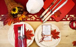 Thanksgiving table overhead. Stock Image