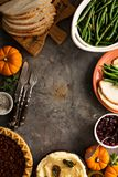 Thanksgiving table overhead shot Stock Photos