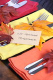 Thanksgiving table place setting in autumn colors - closeup. Royalty Free Stock Photos