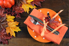 Thanksgiving table place setting. Stock Photos