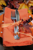 Thanksgiving table place setting closeup. Royalty Free Stock Photos