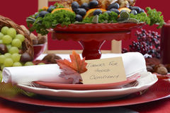 Thanksgiving Table Place Setting Stock Photos