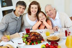 At Thanksgiving table Stock Photography