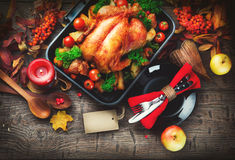 Thanksgiving table served with turkey Royalty Free Stock Images